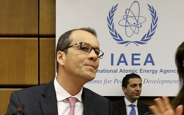 Acting Director General of the International Atomic Energy Agency, IAEA, Cornel Feruta from Romania waits for the start of the IAEA board of governors meeting at the International Center in Vienna, Austria, August 1, 2019. (Ronald Zak/AP)
