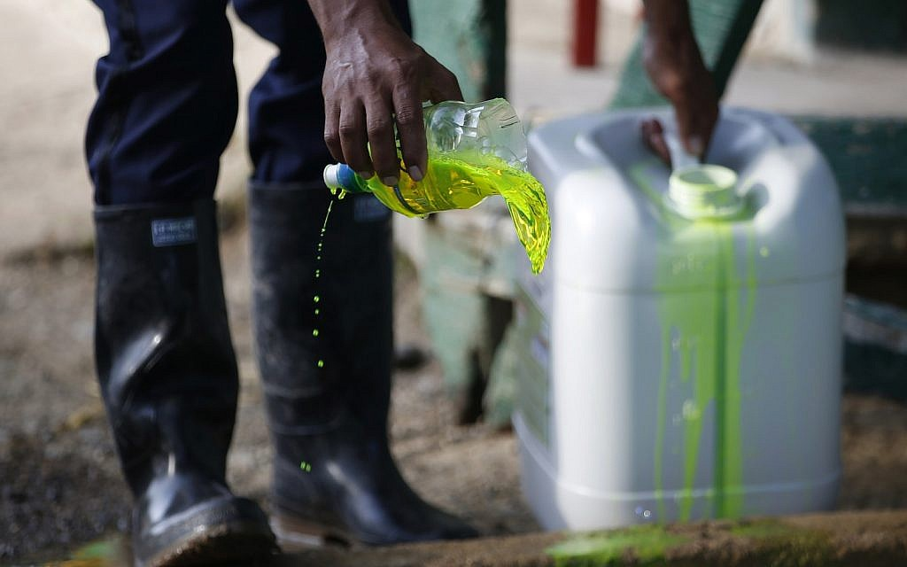 A security guard applies chemicals to a basin for use in decontaminating boots, as part of sanitary controls at the entrance of a quarantined banana plantation near Riohacha, Colombia,  August 23, 2019. (AP Photo/Fernando Vergara)