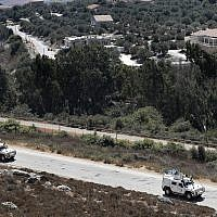 Spanish UN peacekeepers patrol along the Lebanese-Israeli border, September 2, 2019 (AP Photo/Hussein Malla)