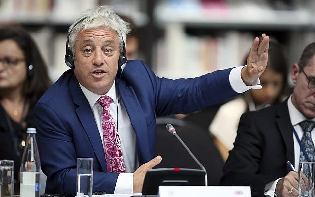 Speaker of the House of Commons John Bercow gestures during a meeting at the G7 parliaments summit, in Brest, western France, September 6, 2019. (AP Photo/David Vincent, Pool)