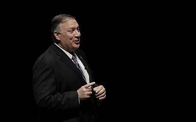 Secretary of State Mike Pompeo answers a question from an audience member after giving a speech at the London Lecture series at Kansas State University Friday, Sept. 6, 2019, in Manhattan, Kan. (AP Photo/Charlie Riedel)