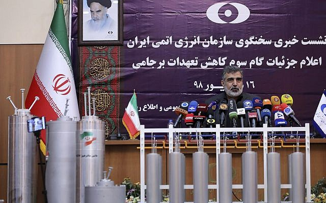 In this photo released by the Atomic Energy Organization of Iran, spokesman of the organization Behrouz Kamalvandi speaks in a news briefing as advanced centrifuges are displayed in front of him, in Tehran, Iran, September 7, 2019 (Atomic Energy Organization of Iran via AP)