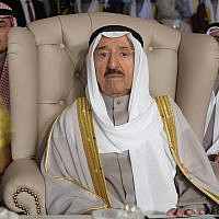 In this March 31, 2019 file photo, Kuwait's ruling emir, Sheikh Sabah Al Ahmad Al Sabah, attends the opening of the 30th Arab Summit, in Tunis, Tunisia. Kuwait said Sunday, Sept. 8, 2019, that its 90-year-old ruling emir Sheikh Sabah has been admitted to a U.S. hospital after an earlier health scare and will cancel an upcoming visit Thursday with President Donald Trump. (Fethi Belaid/Pool Photo via AP, File)