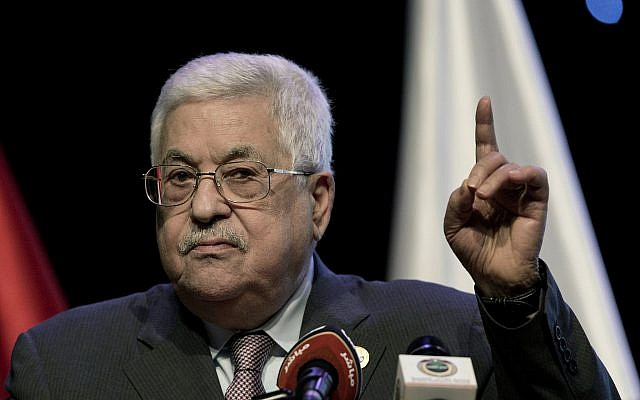 Palestinian Authority President Mahmoud Abbas addresses the Fourth National Forum for the Fourth Industrial Revolution during the forum's opening session in the West Bank city of Ramallah, September 9, 2019. (Nasser Nasser/AP)