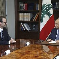 In this photo released by Lebanon's official government photographer Dalati Nohra, Lebanese President Michel Aoun, right, meets with David Schenker, Assistant Secretary of State for Near Eastern Affairs, at the presidential palace, in Baabda east of Beirut, Lebanon, on September 10, 2019. (Dalati Nohra via AP)