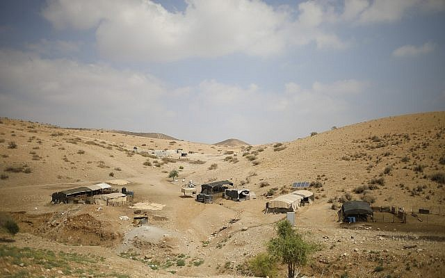 Palestinian Bedouin homes are seen in the in the Jordan Valley of the West Bank