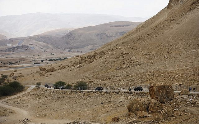 A convey drives off after Israeli Prime Minister Benjamin Netanyahu held the weekly cabinet meeting in the Jordan Valley Sunday, Sept. 15, 2019.  (Amir Cohen/Pool via AP)