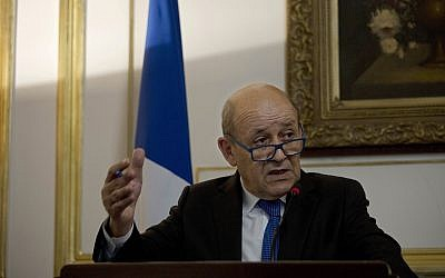 French Foreign Minister Jean-Yves Le Drian speaks during a joint press conference in Cairo, Egypt, September 17, 2019. (Maya Alleruzzo/AP)