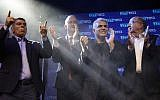 Blue and White party leaders, from the left, Gabi Ashkenazi, Benny Gantz, Yair Lapid and Moshe Ya'alon greet their supporters at party headquarters after the first results of the elections in Tel Aviv, Israel, Wednesday, Sept. 18, 2019. (AP Photo/Sebastian Scheiner)