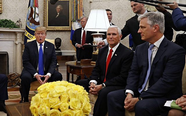 US President Donald Trump in the Oval Office of the White House on March 6, 2019, with Vice President Mike Pence, and Special Presidential Envoy for Hostage Affairs Robert O'Brien. (AP/Jacquelyn Martin)