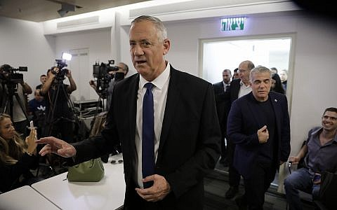 Blue and White party leader Benny Gantz arrives to give a statement for media in Tel Aviv, September 19, 2019. (AP Photo/Sebastian Scheiner)
