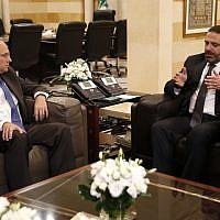 US Treasury Assistant Secretary for Terrorist Financing, Marshall Billingslea, left, meets with Lebanese Prime Minister Saad Hariri, in Beirut, Lebanon, September 23, 2019. (AP Photo/ Hussein Malla)