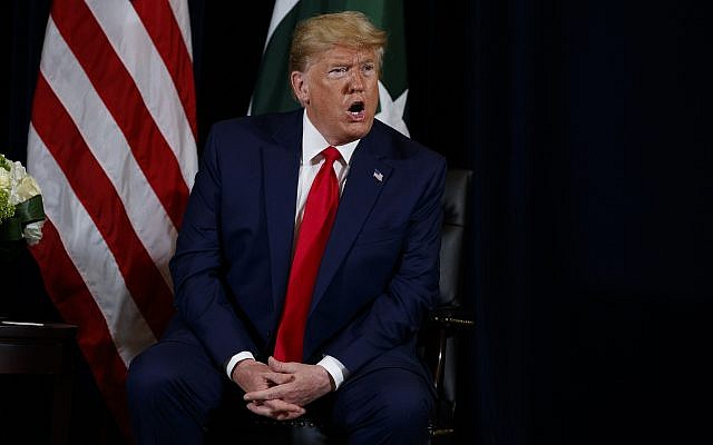 US President Donald Trump speaks during a meeting with Pakistani Prime Minister Imran Khan (not seen) at the InterContinental Barclay hotel during the United Nations General Assembly, September 23, 2019, in New York. (Evan Vucci/AP)