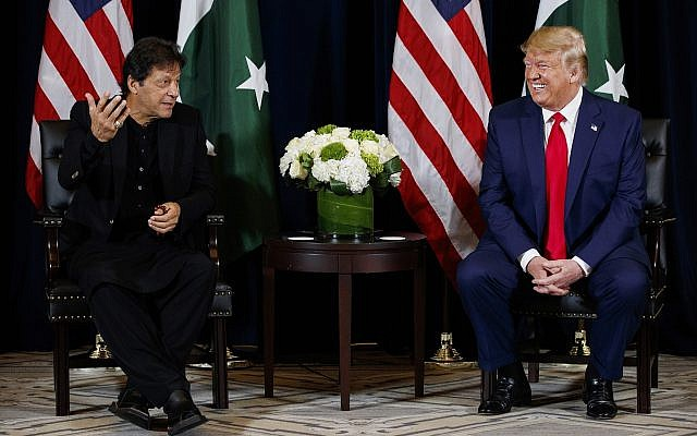 US President Donald Trump, right, meets with Pakistani Prime Minister Imran Khan at the InterContinental Barclay hotel during the United Nations General Assembly, Monday, Sept. 23, 2019, in New York. (AP Photo/Evan Vucci)