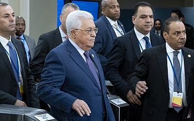 Palestinian Authority President Mahmoud Abbas arrives for the 74th session of the United Nations General Assembly, at UN headquarters, September 24, 2019. (Craig Ruttle/AP)