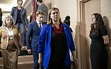 Rep. Elissa Slotkin, D-Mich., leaves a House Democratic Caucus meeting with Speaker of the House Nancy Pelosi, D-Calif., where Pelosi was persuaded to launch a formal impeachment inquiry against President Donald Trump, at the Capitol in Washington, Sept. 24, 2019 (AP Photo/J. Scott Applewhite)