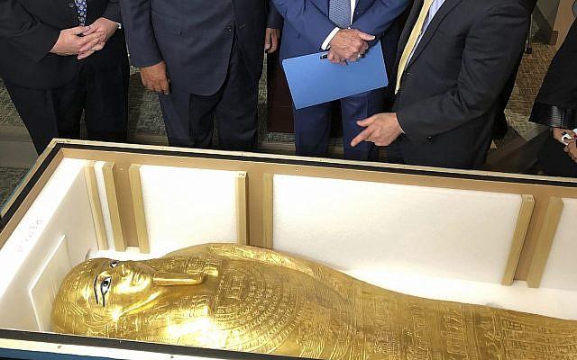 The Coffin of Nedjemankh at a repatriation ceremony in New York, September 25, 2019. (Michael R. Sisak/AP)