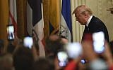 US President Donald Trump walks off of the stage to greet the audience after speaking at the Hispanic Heritage Month Reception in the East Room of the White House in Washington, Friday, Sept. 27, 2019. (AP/Susan Walsh)