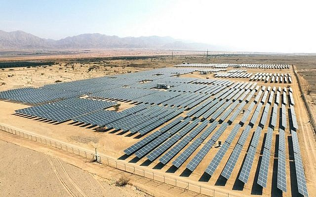 An aerial view of solar panels near the southern resort city of Eilat. (Moshe Shai/FLASH90)