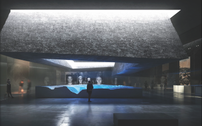 Architectural rendering of a proposed memorial/research institute at the Babi Yar massacre site in the Ukrainian capital of Kyiv. (Courtesy BYHMC)