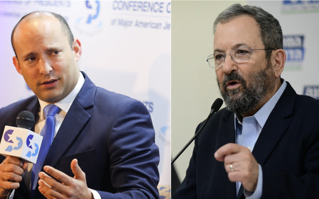 Naftali Bennett (left) and Ehud Barak (photos by Hadas Parush/Flash90 and Jacob Magid/Times of Israel)