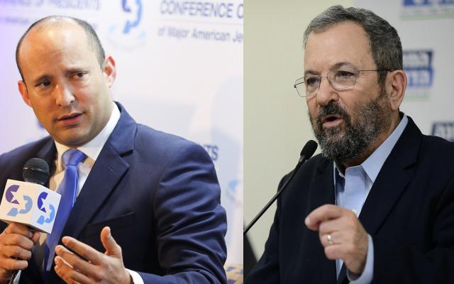 Naftali Bennett (left) and Ehud Barak (photos by Hadas Parush/Flash90 and Jacob Magid/Times of Israel)