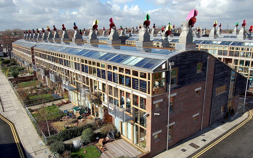 A photo for BedZed, a sustainable community in Wellington in the United Kingdom,  featured in 'Solar Guerrilla,' a Tel Aviv Museum of Art exhibit, open through December 15, 2019 (Courtesy Tom Chance)