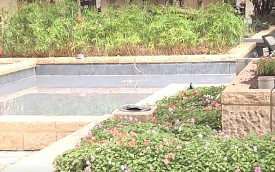 The ornamental pool in Tel Aviv in which a soldier was electrocuted on Friday, September 20, 2019. (Screen Capture)