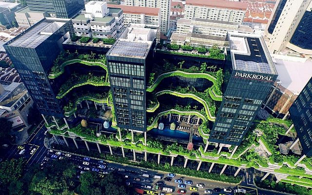 An angle of SkyVille, a Singaporean high-rise project that combines a hotel, office space and vertical public parks, featured in the Tel Aviv Museum of Art's current exhibit, 'Solar Guerrilla,' through December 2019 (Courtesy Skyshot Pte Ltd.)