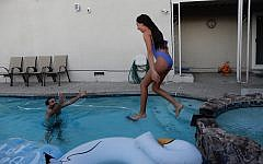 Swimming in a pool in San Jose, California rented on the Swimply app on September 10, 2019. (Melanie Lidman/Times of Israel)