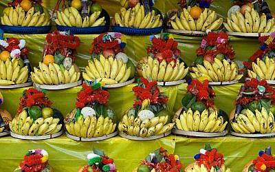 Bananas on display in a Jerusalem market. Banana farming is one of the most stable and profitable agricultural sectors in Israel and the largest among the country's plantation-based crops. (Moshe Shai/Flash90)