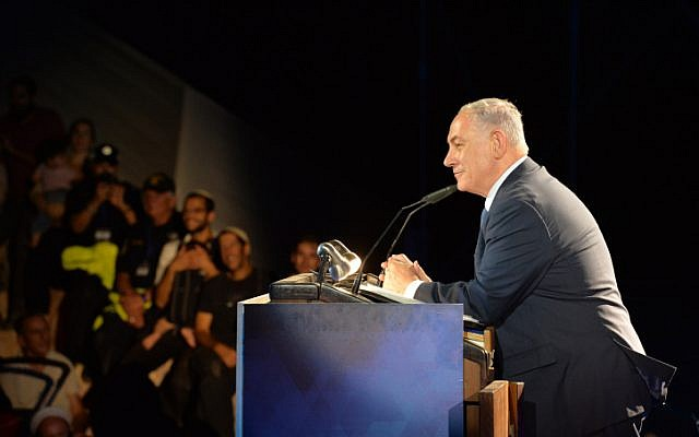 Prime Minister Benjamin Netanyahu speaks during an event marking the 50th anniversary of settlements in the Jordan Valley, in Patzael, on October 19, 2017. (Kobi Gideon / GPO)