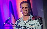 IDF Chief of Staff Aviv Kohavi attends a ceremony in Glilot military base, near Tel Aviv, May 26, 2019. (Flash90)