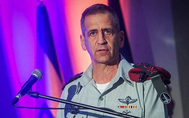 IDF Chief of Staff Aviv Kohavi attends a ceremony in Glilot military base, near Tel Aviv, May 26, 2019. (Flash90)