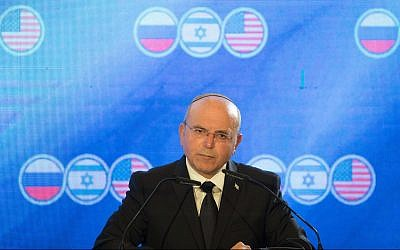 Meir Ben-Shabbat, the head of the National Security Council, speaks at a trilateral meeting in Jerusalem of the Israeli, US and Russian national security advisers on June 25, 2019. (Noam Revkin Fenton/Flash90)