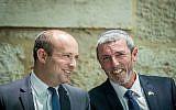 New Right leader Naftali Bennett (L) and Jewish Home chairman Rafi Peretz. (Yonatan Sindel/Flash90)