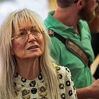 Miriam Adelson at the opening of an ancient road at the City of David archaeological site in the East Jerusalem neighborhood of Silwan, June 30, 2019. (Photo by Flash90)