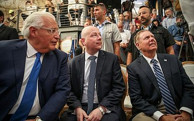 White House Middle East envoy Jason Greenblatt (center), with US Ambassador to Israel David Friedman and Senator Lindsey Graham at the opening of an ancient road at the City of David archaeological site in the East Jerusalem neighborhood of Silwan, June 30, 2019. (Flash90)