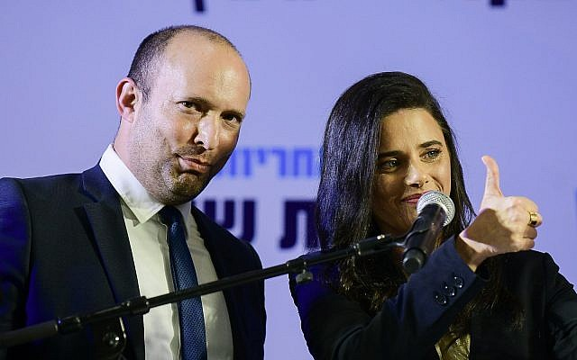 Naftali Bennett and Ayelet Shaked attend a press conference in Ramat Gan, July 21, 2019. (Tomer Neuberg/Flash90)