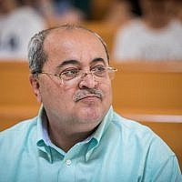 Joint List MK Ahmad Tibi seen at a court hearing at the Supreme Court in Jerusalem asking to disqualify the Joint List  from running in the September elections, August 22, 2019. (Yonatan Sindel/Flash90)