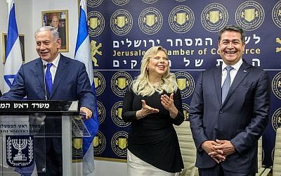Prime Minister Benjamin Netanyahu speaks at the opening of a Honduran trade office in Jerusalem, on September 1, 2019. (Marc Israel Sellem/Pool/Flash90)