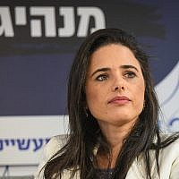 Yamina party chairwoman Ayelet Shaked speaks at a Manufacturers Association conference in Tel Aviv, on September 2, 2019. (Flash90)