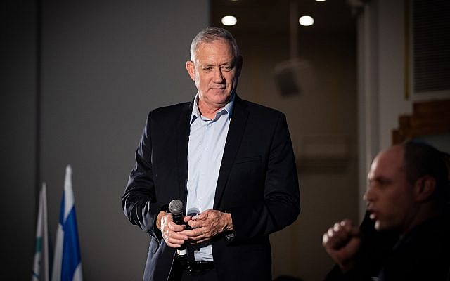 Blue and White chairman Benny Gantz attends the Srugim conference in Jerusalem on September 2, 2019. (Yonatan Sindel/Flash90)