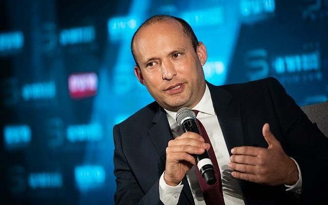 Yamina's Naftali Bennett speaking at the Srugim conference in Jerusalem on September 2, 2019. (Yonatan Sindel/Flash90)