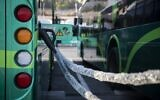 Egged's new electric buses at their charging station in Jerusalem during the launching ceremony, on September 3, 2019. (Hadas Parush/Flash90)