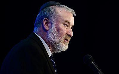 Attorney General Avichai Mandelblit speaks at a conference in Airport City, outside Tel Aviv, on September 3, 2019 (Tomer Neuberg/Flash90)