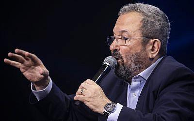 Former prime minister Ehud Barak speaks at Channel 12 news conference in Tel Aviv on September 5, 2019. (Hadas Parush/Flash90)