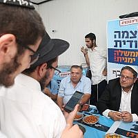 Itamar Ben-Gvir of Otzma Yehudit at party branch in Safed, northern Israel, on September 8, 2019 (David Cohen/Flash90)