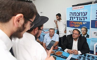 Itamar Ben Gvir of Otzma Yehudit at a party branch in Safed, northern Israel, on September 8, 2019 (David Cohen/Flash90)