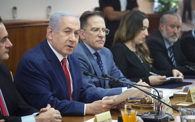Prime Minister Benjamin Netanyahu (2L) leads the weekly cabinet meeting at the Prime Minister's Office in Jerusalem, September 8, 2019. (Marc Israel Sellem/Pool)